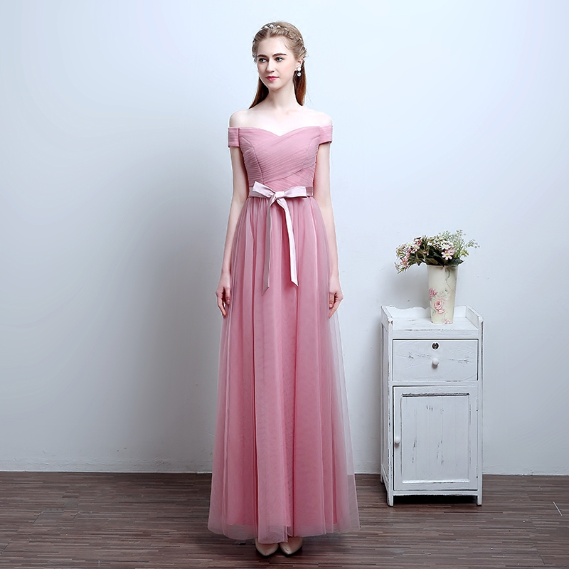 e36476191401 Pink Off Shoulder Chiffon Tulle Bridesmaid Dress on Luulla