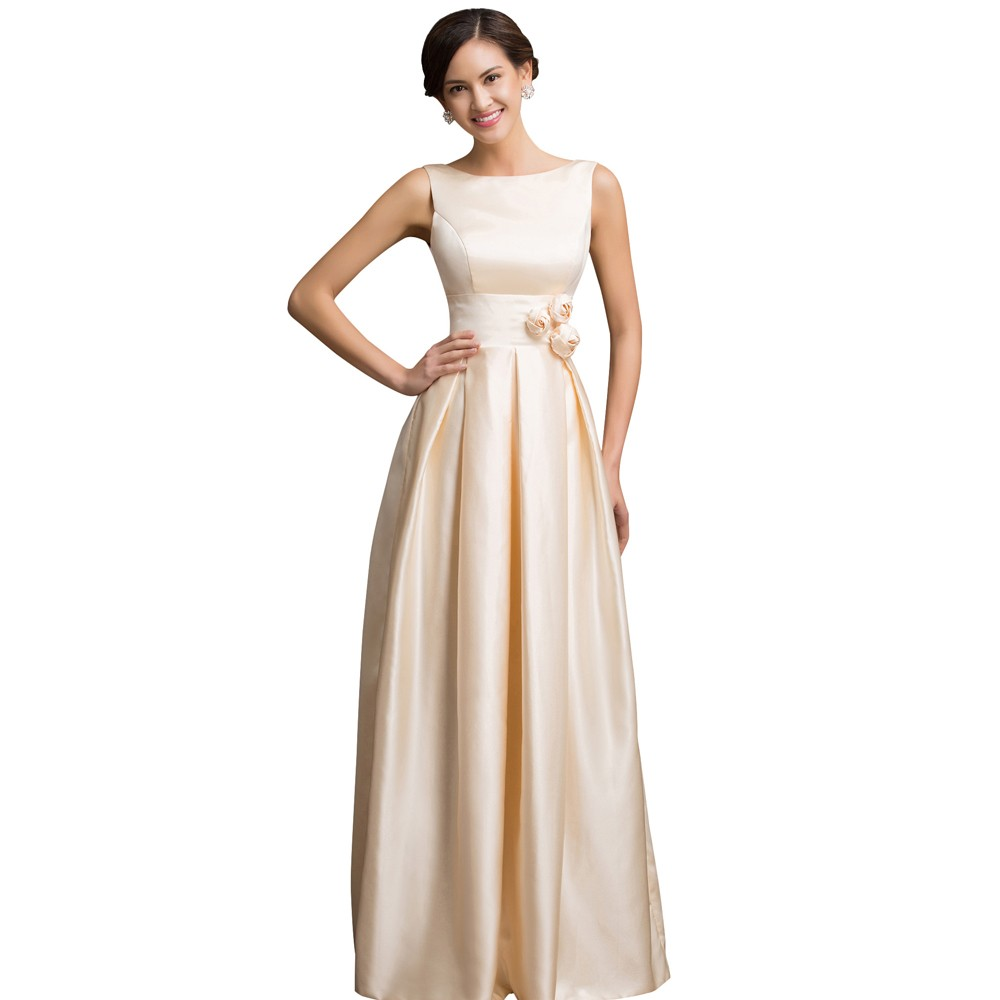 Clic Satin Prom Dresses Elegant Formal Gowns Vestidos Fiesta Long Party Gown Engagement Dress For Champagne Backless