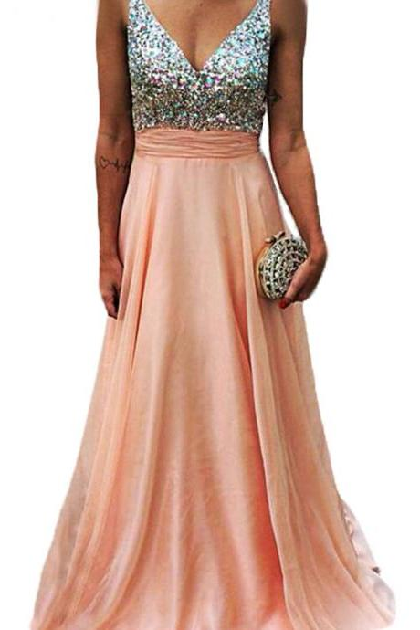 Hot Saes A-Line Pink Backless V Neck Long Prom Dresses,Off the Shoulder Open Back Beadings Prom Dress,Custom Made Blush Evening Gown Dress,Formal Women Prom Dress